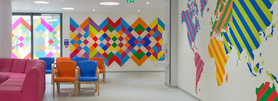 Our newly refurbished paediatric unit, Rainbow Unit at Newham University Hospital, which includes an integrated design by Morag Myerscough