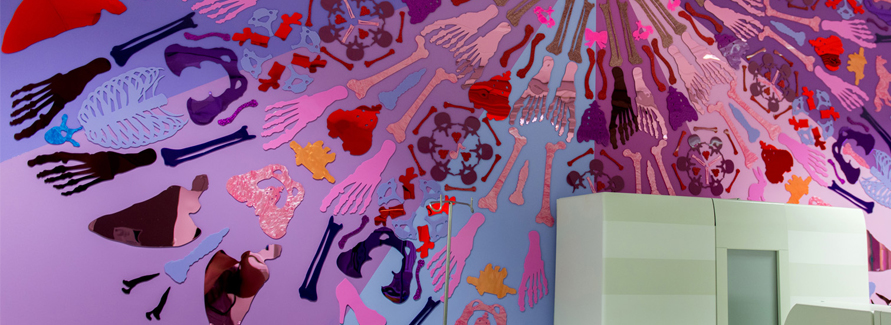 Known for their sculpture-like jewellery made from laser cut acrylic in articulated forms, Tatty Devine has brought their bold colours and quirky sense of play to the Children's Imaging Department.
