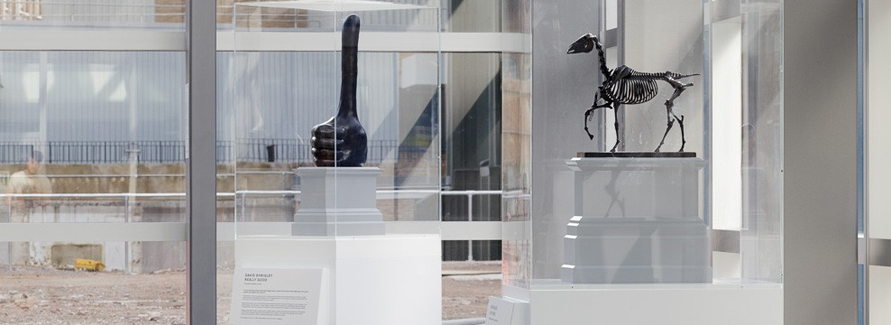 The winning artworks were on display in the main entrance of The Royal London Hospital; David Shrigley's 'Really Good' and Hans Haacke's 'Gift Horse'